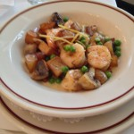 Shrimp Clemenceau Gulf Shrimp sautéed in garlic butter with peas, crisp Brabant potatoes and fresh mushrooms